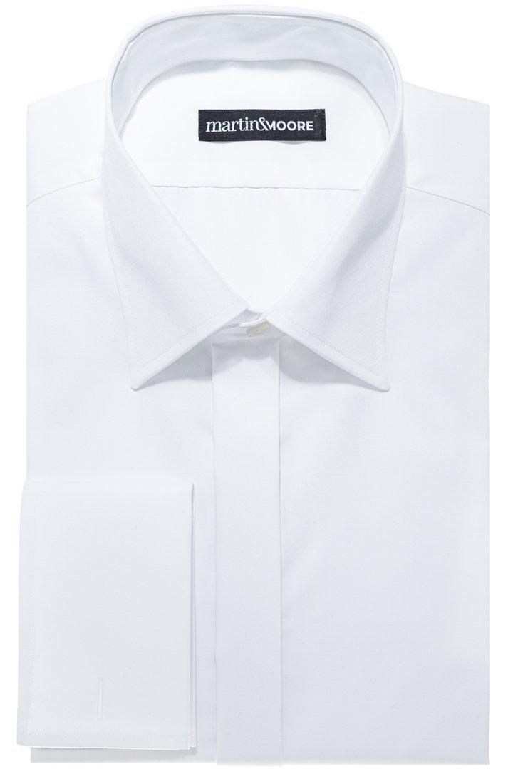 Biała koszula formalna do muchy na spinki Slim 176 182cm  GfRjx
